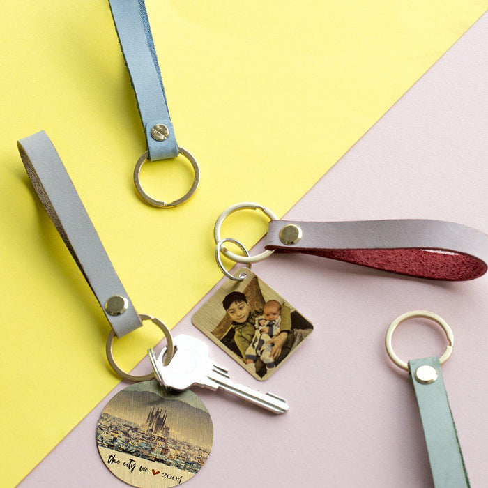 Personalised Colourful Keyring with Photo Plate