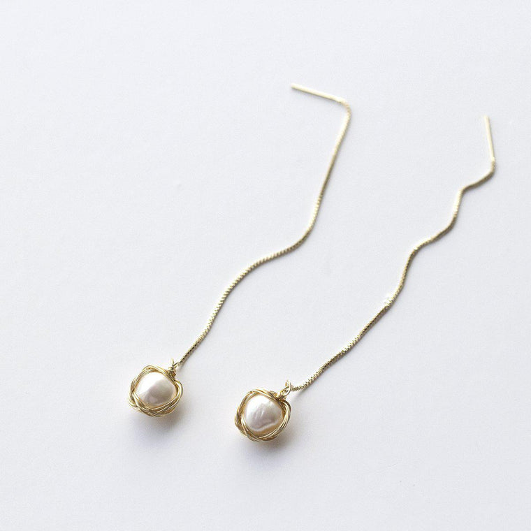 Draping Wrapped Pearl Earrings