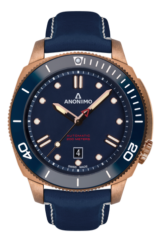 AUTO - BRONZE CASE<br>BLUE DIAL