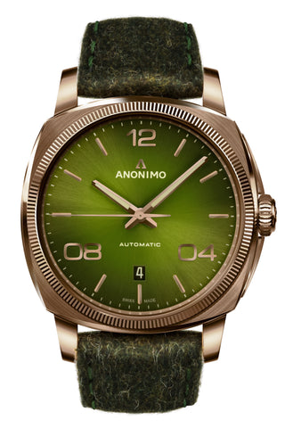 Bronze Case & Galvanic Green Sunray Dial-Anonimo Watches