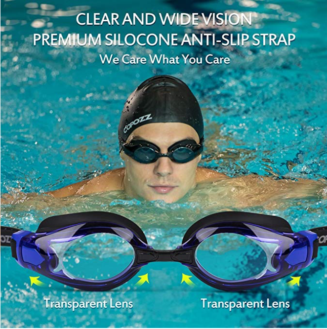 COPOZZ Double Anti Fog - Crystal Clear Vision  Swim Goggles with Free Protection Case for Adult Women Men Kids Age 10+, Blue