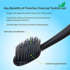 FineVine Charcoal Toothbrush - Pack of 5 Soft Bristle Tooth Brushes
