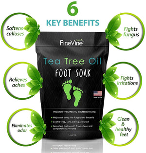Tea Tree Oil Foot Soak with Epsom Salt - Made in USA - for Toenail Fungus, Athletes Foot, Stubborn Foot Odor Scent, Fungal, Softens Calluses & Soothes Sore Tired Feet - 2 Pack