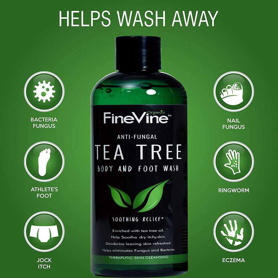 100% Natural Tea Tree Body Wash| Organic Tea Tree Oil Body Wash Made in USA| Cleansing Body Wash Fights off Jock Itch & Nail Fungus| Body Wash Treats Athletes Foot, Ec-zema, Ring Worm, Odor