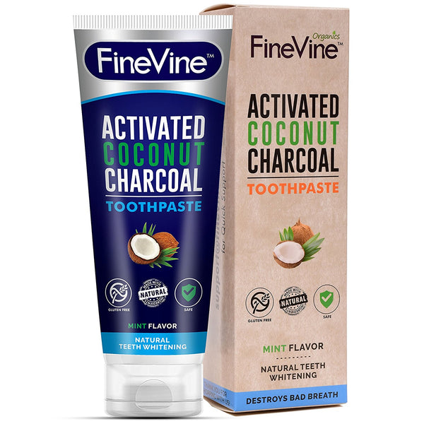 all natural charcoal teeth whitening toothpaste made in usa finevine organics. Black Bedroom Furniture Sets. Home Design Ideas