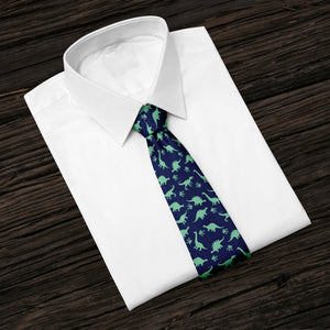 Navy Blue Dinosaurs Roaming Tie