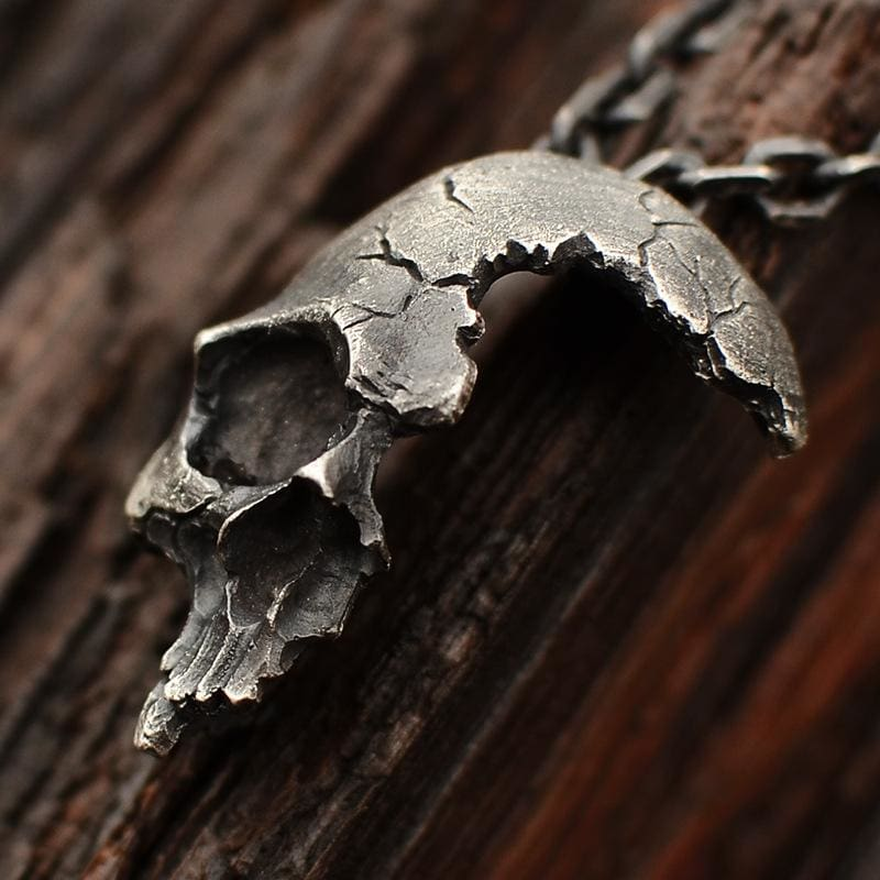 Half Broken Unique Skull Necklace