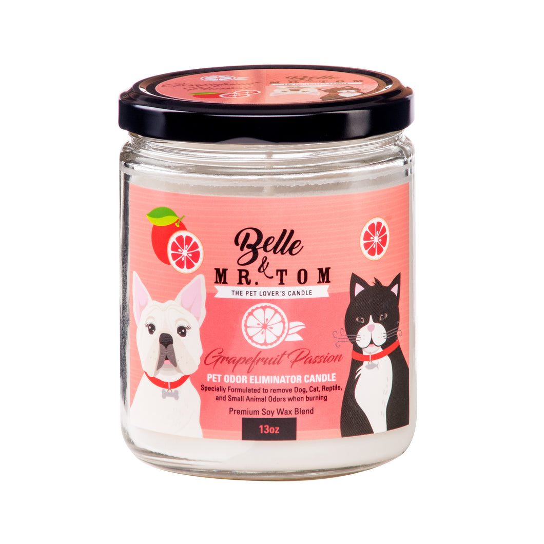 Grapefruit Passion: Pet Odor Eliminator Candle (13oz)