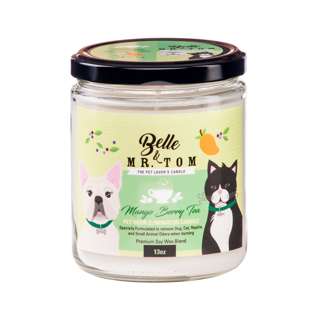 Mango Berry Tea: Pet Odor Eliminator Candle (13oz)