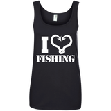 I Love Fishing Ladies Cotton Tank Top