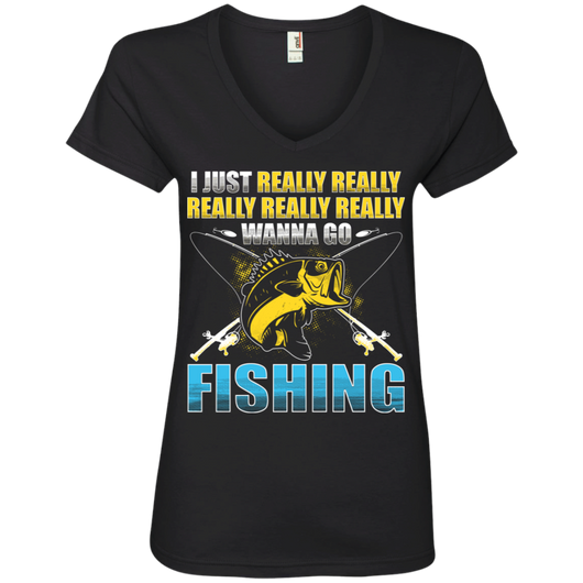 Really Want to Go Fishing Ladies' V-Neck T-Shirt
