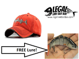 100% Cotton Fishing Hat With a FREE 6 Segment Lure