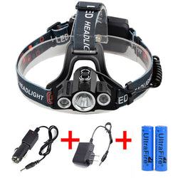 35000LM 3x XML T6 LED Headlamp Rechargeable