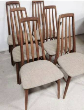 Set of 6 Teak Eva Dining Chairs by Niels Koefoed, Danish Mid Century Modern