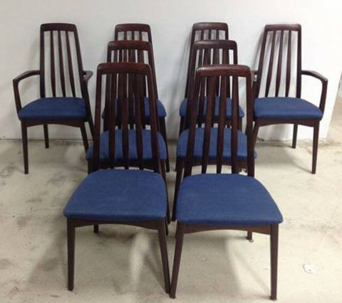 Set of 8 Swedish Modern Rosewood Dining Chairs by Svegards Markaryd danish mid century modern