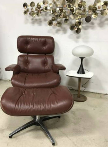 Plycraft Lounge Chair and Ottoman :: Good Condition Brown Leather!!