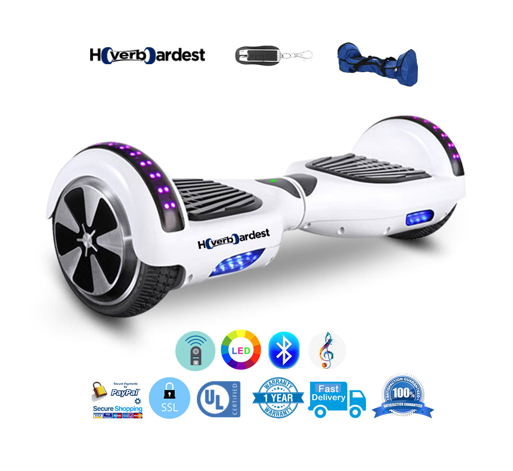 6 5 Inch Bluetooth Led Chrome Blue Hoverboard With Led Light Speakers Hoverboardest