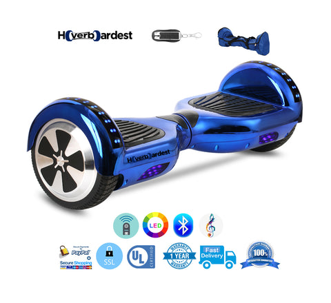Hoverboardest 6.5 Inch Chrome Blue UL 2272 Certified New Hoverboard for Sale, Smart Balance Scooter with LED, Bluetooth Speaker and Remote