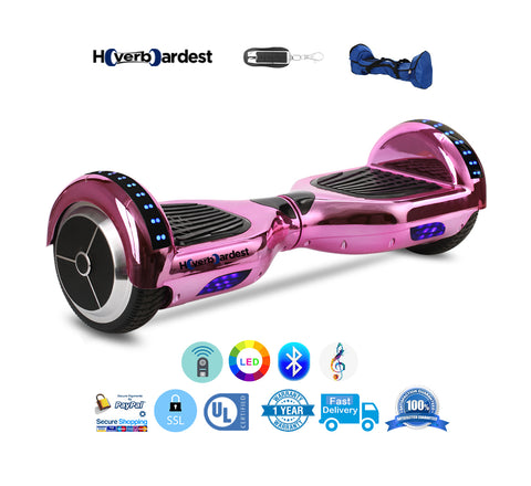 Chrome Pink Hoverboard with LED and Remote