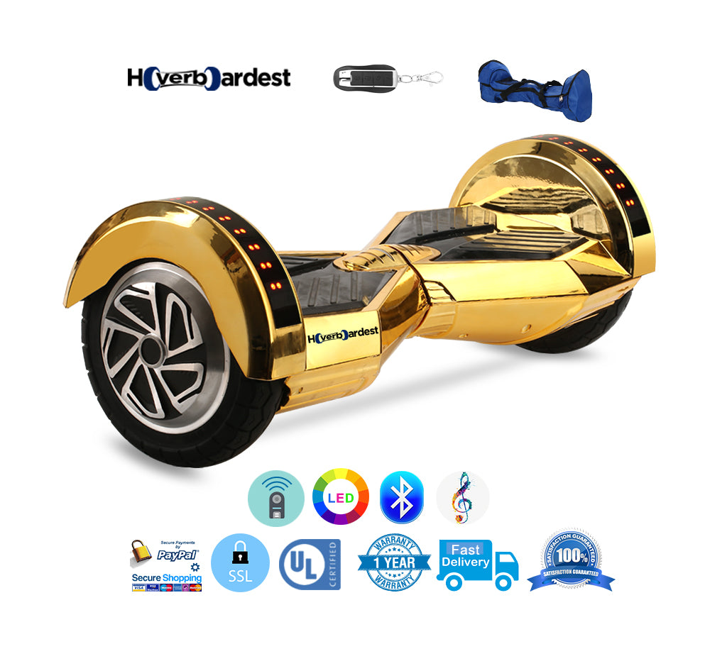 8 inch lambor chrome gold bluetooth hoverboard for sale – hoverboardest
