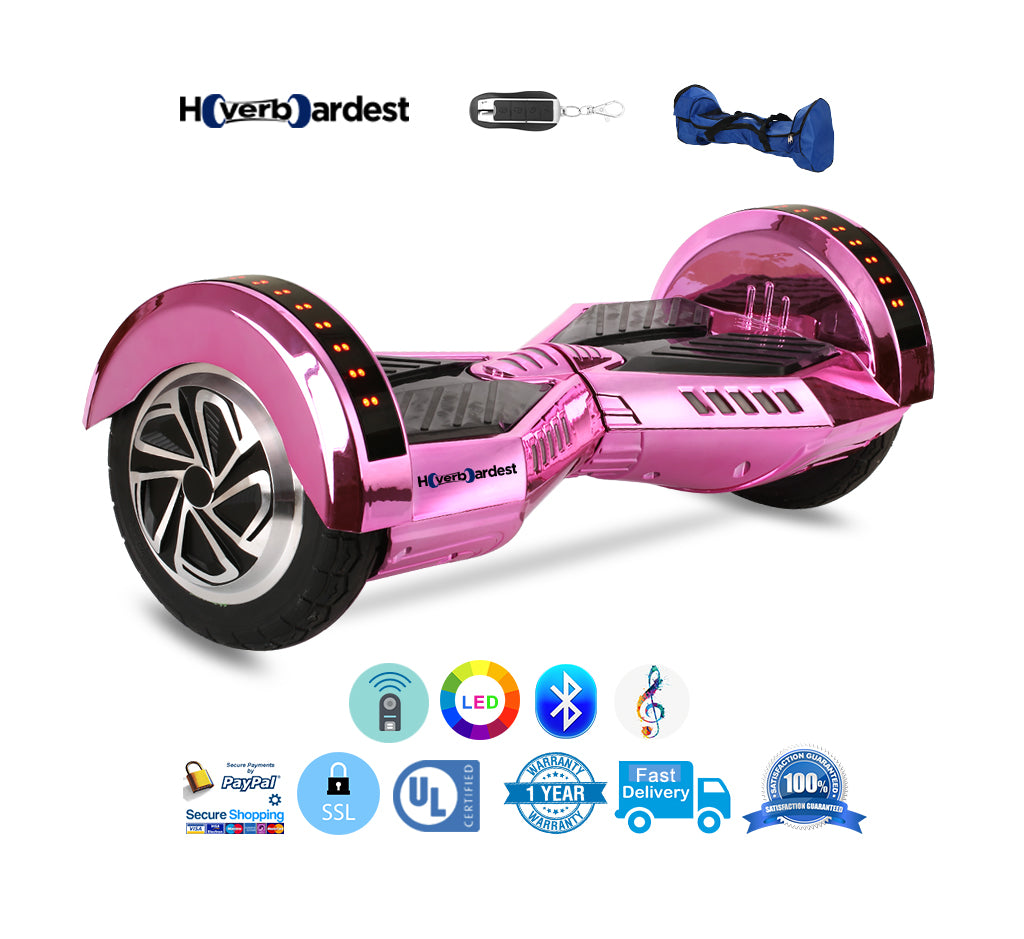 hoverboardest 8 inch lamborghini chrome pink hoverboard with bluetooth hoverboardest. Black Bedroom Furniture Sets. Home Design Ideas