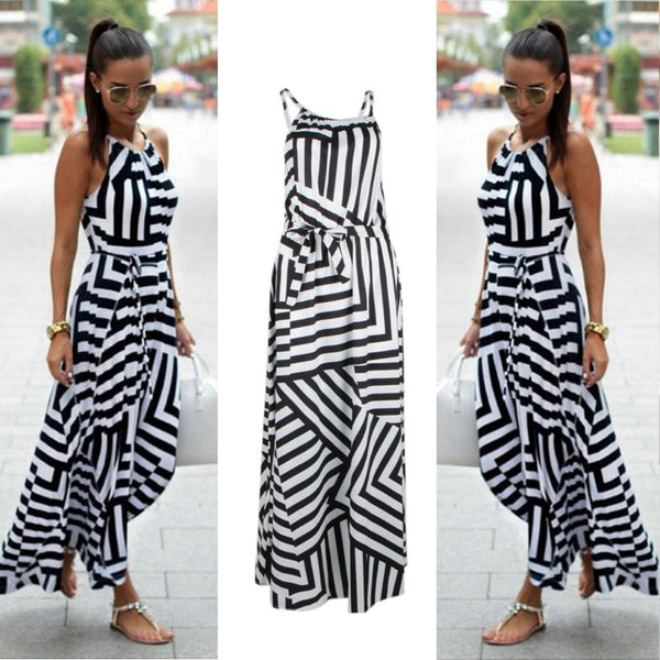 Women Sexy Summer Striped Dress Long