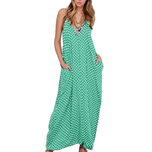 Casual Women Polka Dot Print V Neck Maxi Sundress
