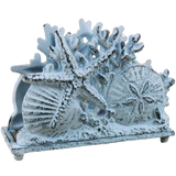 Rustic Whitewashed Cast Iron Seashell Napkin Holder