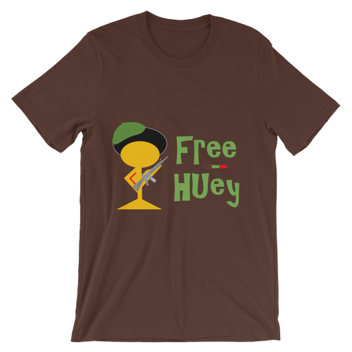 FREE HUEY Unisex t-shirt (Brown and Black)