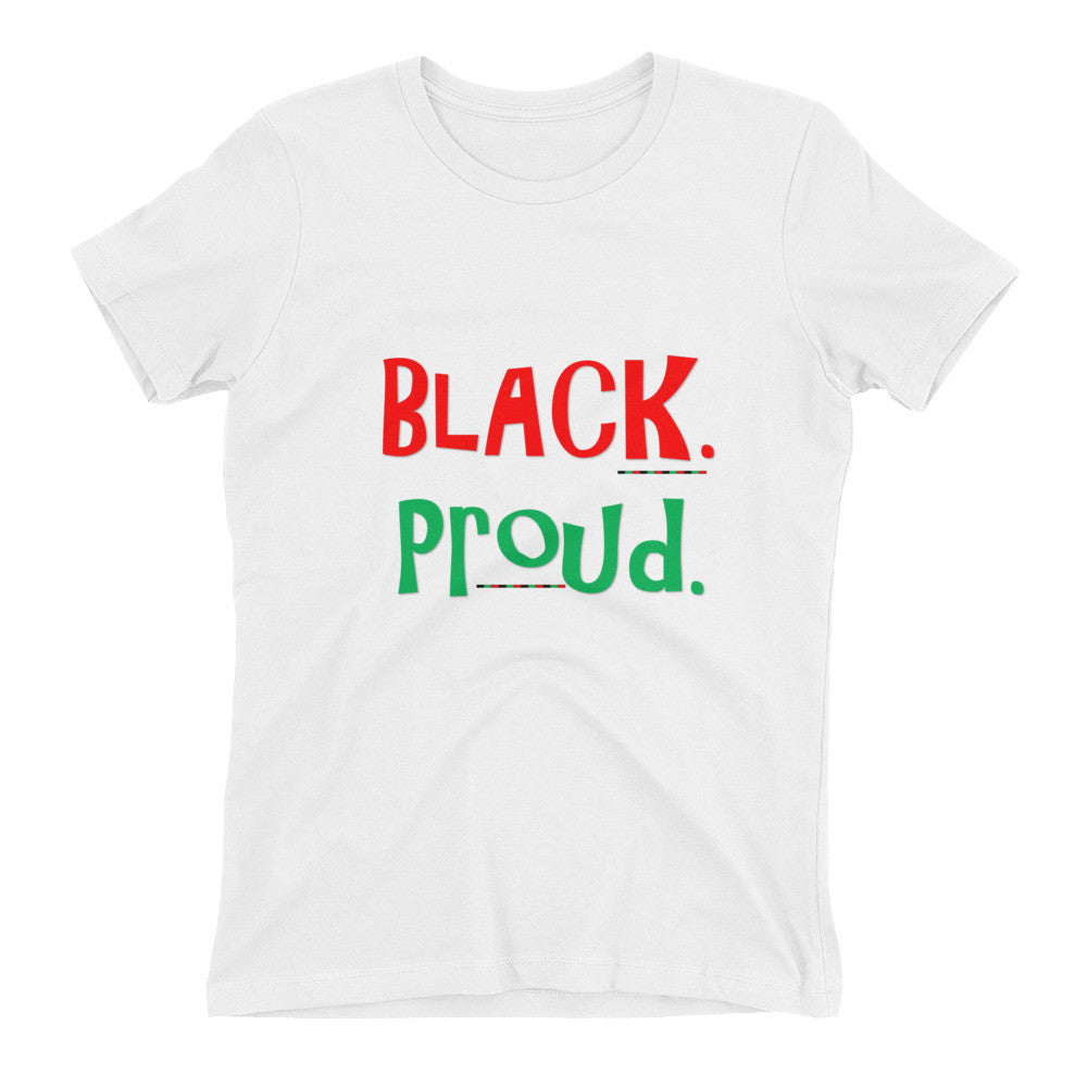 BLACK. PROUD.  Fitted Women's t-shirt