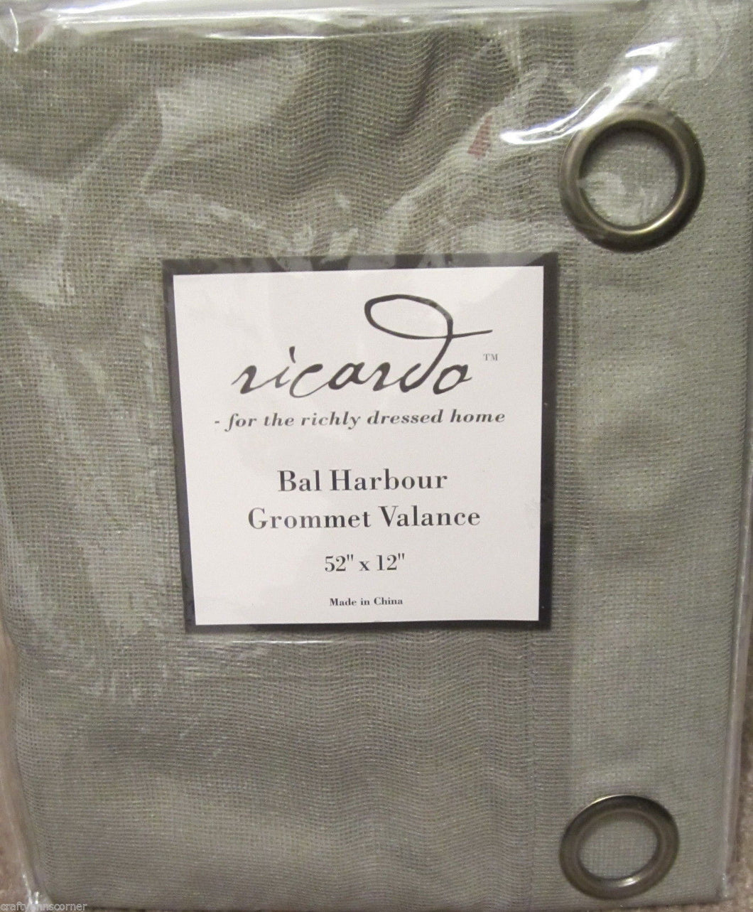 Bal Harbour semi sheer Grommet Sage Green Kitchen Curtain Valance