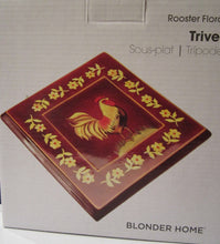 Blonder Home Kimberly Poloson Rooster Floral Country Trivet