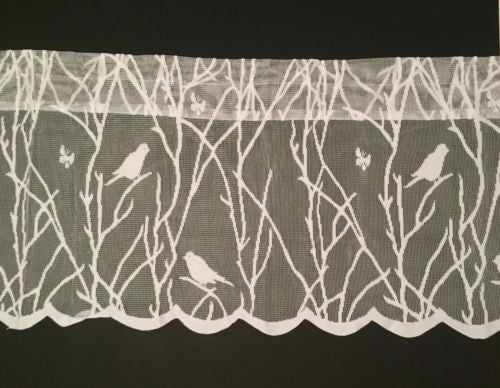 Songbirds Lace White Kitchen Curtain Valance