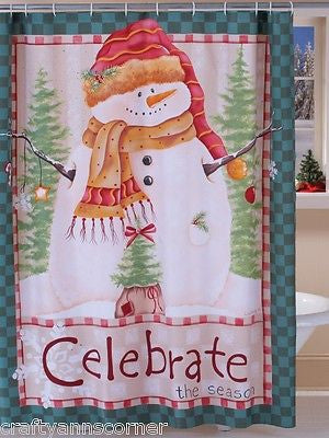Shower Curtain Celebrate Snowman