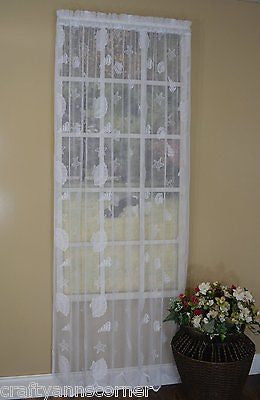 Seashells Starfish Lace Coastal White Curtains 63L Panels Set of 2