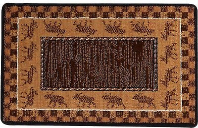Moose Train Wilderness Lodge Rustic Cabin Area Rug Mat 22 x 36 Woodland