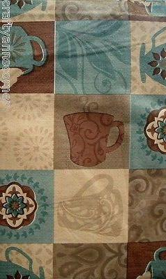 Coffee Cups Brown Blue vinyl flannel back tablecloth 52x70 Oblong