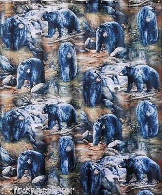 Casa Bella Black Bears Fabric Shower Curtain