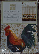 CHF Country Rooster Tailored Tiers Kitchen Curtain 36L