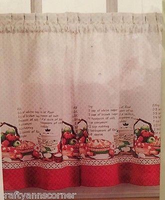 CHF Apple Pie Recipe Tailored Tiers Kitchen Curtain 24L