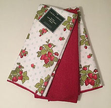 Laura Ashley Strawberries kitchen dish towels Set of 3