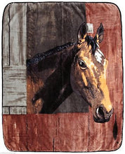 Horse Bay In Barn Country Western Lodge Rustic Cabin Raschel Throw Blanket 50x60