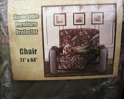 Mossy Oak Camouflage Cabin Reversible Furniture Protector Slipcover Chair 71x64
