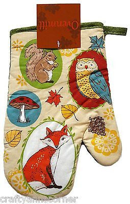 Oven Mitt Happy Harvest Owl Fox Squirrel Woodland Creatures