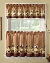 Wines Wine Bottles Tuscany 36L Tiers Valance Kitchen Curtains Set