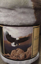 American Bald Eagle Hunting Lodge Rustic Cabin Raschel Throw Blanket 50x60