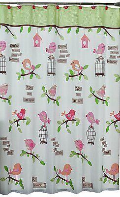 Saturday Knight Inspirational Tweets Birds Birdcage Fabric Shower Curtain