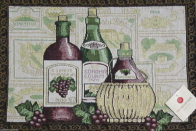 Country Vineyards Tuscany Wine Bottles Grapes Tapestry Placemats Set of 4