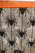 "Halloween Spiders Vinyl Flannel Back Tablecloth 52"" Square"