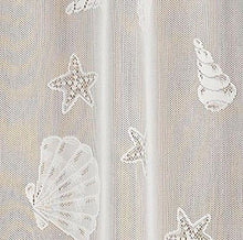 "Seashells Starfish Lace Coastal Ivory Kitchen Curtain 36""L Tier Set Nautical"